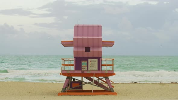 Pink lifeguard tower in Miami Beach
