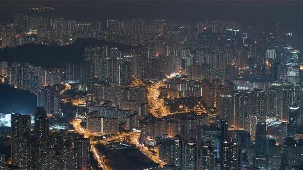 Hong Kong, China, Timelapse  - The Buildings at night